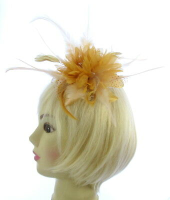 Gold flower & feather fascinator comb for Ascot , Races, Weddings, Ladies Day