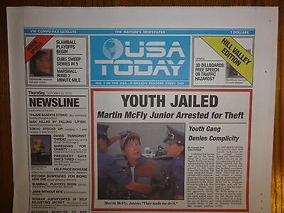 Back to the Future USA Today October 22, 2015 W/PROTECTOR - BTTF PROP RARE PEPSI