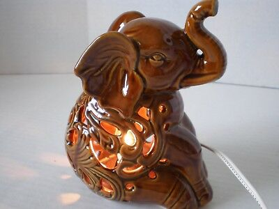 Brown Pierced Lighted Elephant Table Lamp Night Light Electric