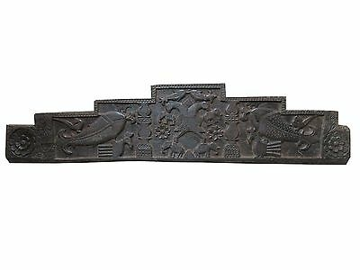 Antique Headboard Double Headed Eagles Fish Elephant Carved Wall Sculpture