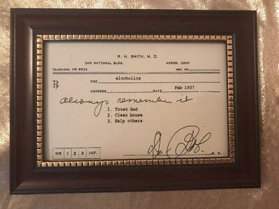 NEW-Alcoholics Anonymous Dr Bob's Framed Copy Prescription-Nice Sobriety Gift