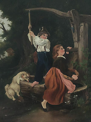 19th Century Oil on Canvas Portait of Children with their Dog at the Well