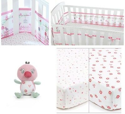 Breathable Baby Cot / Cotbed Bumper 2x Fitted Sheets+Toy English Garden GIFT SET