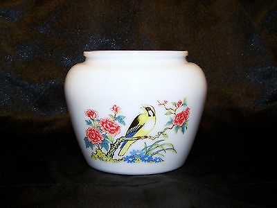 Vintage Avon Original Milk Glass Vase With Bird and Beautiful Floral Print # 10