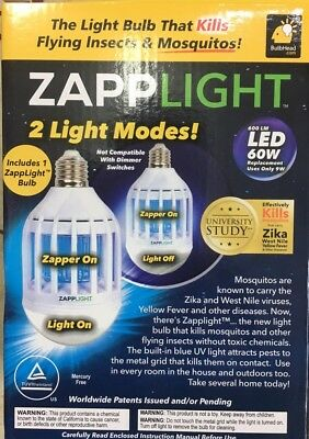 Insect Killer Zapp Light LED Energy-Saving Lamp Kills Flying Insects&Mosquitoes