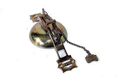 "Vintage Bronze 10"" Pull Chain Door Bell Ringer SFG0 San Franciso Trolly"