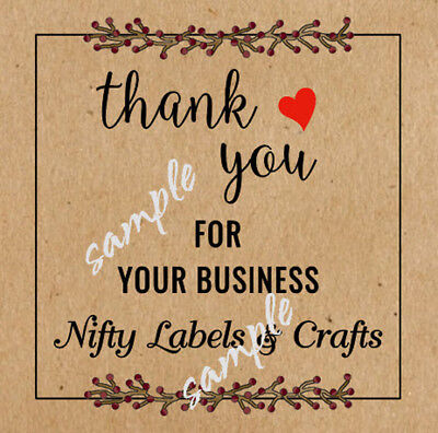 BROWN KRAFT CUSTOMIZED SQUARE THANK YOU STICKERS  Design #3  - LASER PRINTED