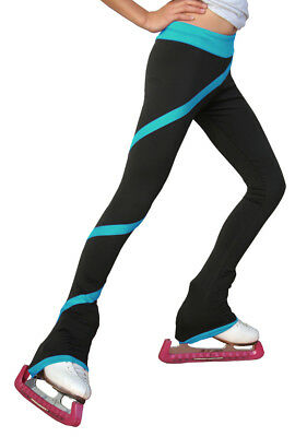 New Chloe Noel Fleece Ice Skating Spiral Pants P06, Turquoise - Size AM