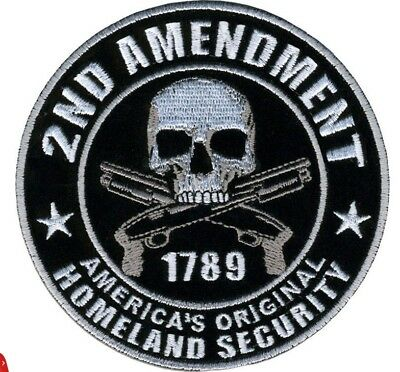 Homeland Security 2nd Amendment Skull Round Nra Gun Patch 3D Embroidered Patches