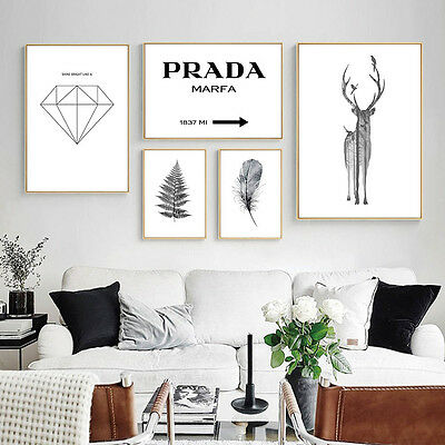 PRADA Deer Feather Leaves Canvas Nordic Poster Minimalist Abstract Prints