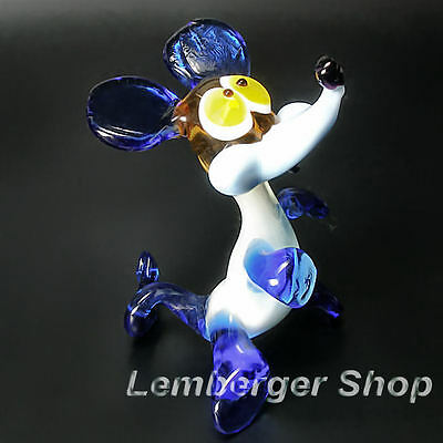 Glass figurine mouse made of colored glass. Height 8 cm / 3.2 inch!