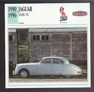 1950-1956 Jaguar Mark VII (7) Car Photo Spec Sheet CARD 1951 1952 1953 1954 1955