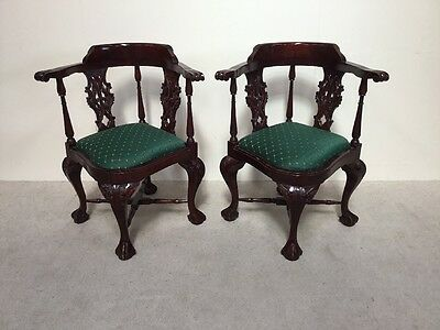 Pair Of Chippendale Design Victorian Style Corner Chairs Superb Mahogany