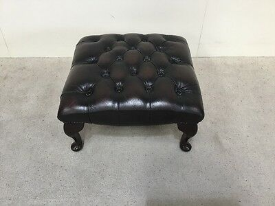 Antique Design Brown Leather Chesterfield Footstool Queen Anne Leg