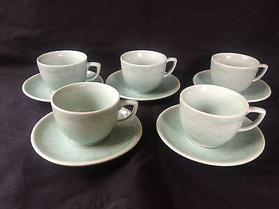 CHINESE CELADON Vintage Porcelain Koi /Carp Fish 5  Cups and saucers . Sealmark