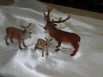 Schleich Red Deer Stag Buck,Doe,Fawn- Wild Life Figure Toy - RETIRED w/Tags