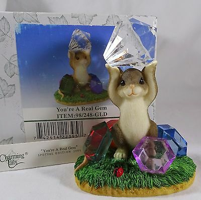 Charming Tails Figurine You're A Real Gem Gold  NIB