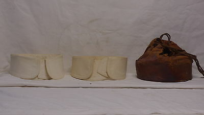Great Antique Leather Collar Box With Drawstring Closure & 2 Old Collars Inside