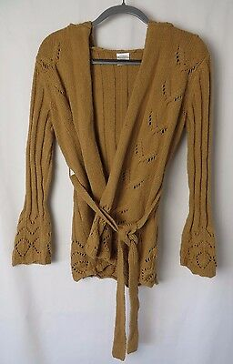 Motherhood Hooded Sweater Wrap with Tie Camel Size S #5399