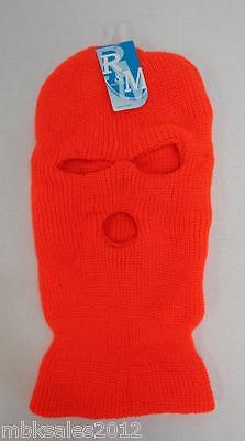 Wholesale 144pc Lot HUNTER ORANGE Winter Knit 3 Hole Ski Mask