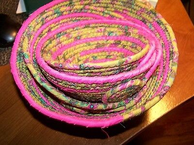 Handmade Coiled  Prints Cotton Fabric Basket Mixed Colors & Sizes