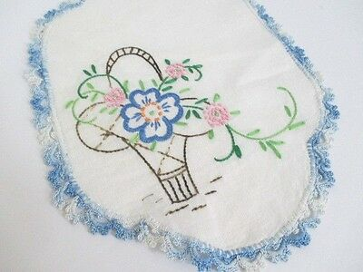 Vintage Hand Embroidered Doily with hand crochet edge - Blue white Floral Basket