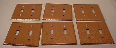 6 Vintage Copper Clad Swirl  Double Light Switch Covers