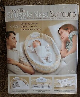 Baby Delight Snuggle Nest Surround Portable Infant Sleeper Bed 0-4m Green Dreams