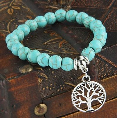Turquoise (Howlite) Beads Bracelet with Silver Tree of Life Charm