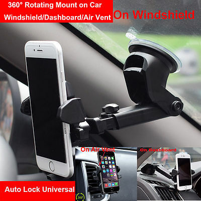 360°Car Holder Windshield Mount Bracket For Cell Phone iPhone Samsung Universal
