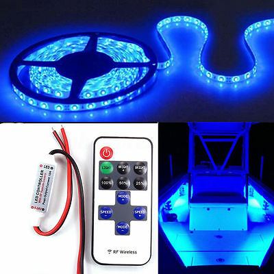 5m/16ft Waterproof LED Strip Light w/ Remote 12V For Boat Truck Car SUV RV Blue