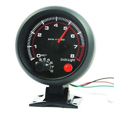 "12V Universal Car 3.75"" inch RPM Tachometer Tacho Gauge w/ Shift Light - 8000RPM"