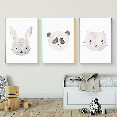 Rabbit Fox Cat Animal Canvas Nursery Art Poster Prints Kids Baby Room Decoration