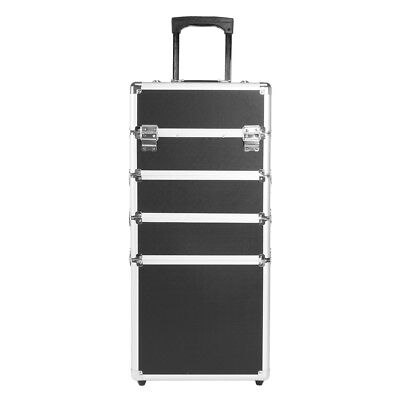 5 in1 Silver Makeup Vanity Case Cosmetics Nail Hairdressing Box Beauty Trolley