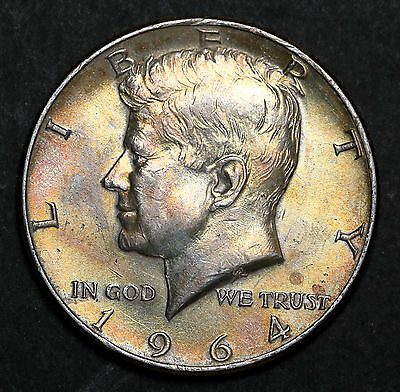 US 1964 Kennedy Half Dollar 90% Silver Coin Nicely Toned Beauty