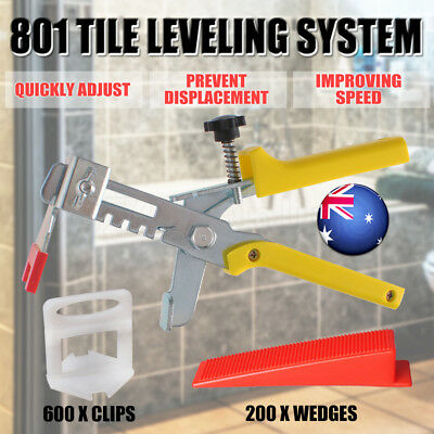 801 Kit Tile Tiling Leveling System 200 Wedges 600 Clips 1x Plier Floor Spacer
