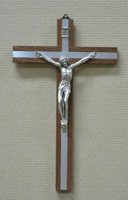 25cm Wall Crucifix, Metal Corpus, Wood Cross With Metal Inlay, Made in Italy