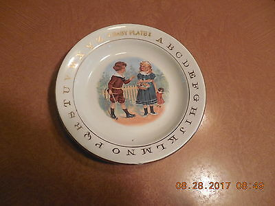 Vintage/antique Small Baby Plate...abc's And Boy And Girl