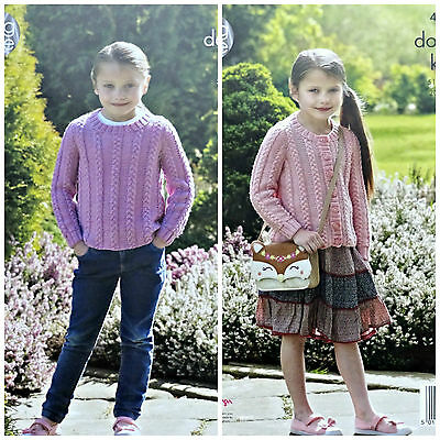 KNITTING PATTERN Girls Round Neck Cable Jumper & Cardigan DK King Cole 4941
