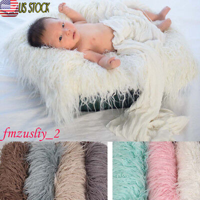 Soft Faux Fur Rug Mat Newborn Baby Photography Props Blanket Basket Stuffer