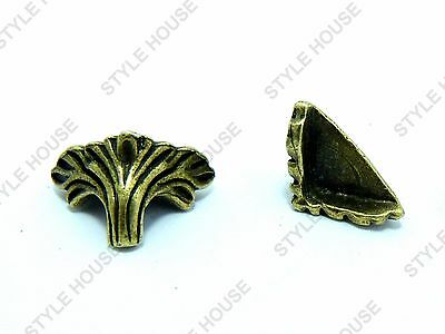 14mm METAL FOOT FLORAL STYLE CHEST CASE BOX VINTAGE FEET CORNER PROTECTOR 4 PACK