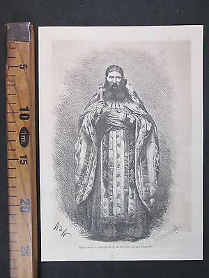 1873 Pope Russo Sacerdote Russia Ritratto Antica Stampa Antique Engraving D398