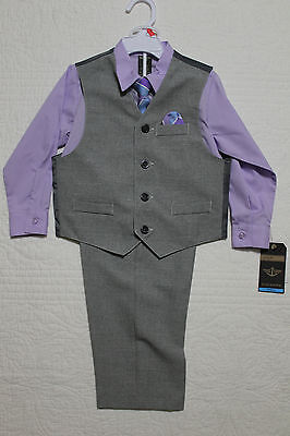 New Boys Toddler Dockers 4 Piece Suit - Shirt, Vest, Pants, Tie Sz 4T