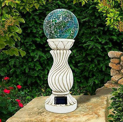 Solar Powered Mosaic Ball on Column Outdoor Garden Light Decoration Ornament