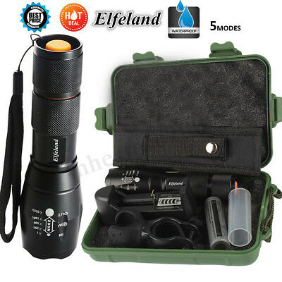 Tactical 90000LM T6 LED Flashlight Zoomable Torch +18650+Charger+Mount+Box Set