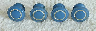 Vintage Blue and White Metal Cabinet Knob Pulls,  Lot of 4