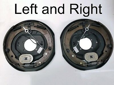 "Pair of Trailer Backing Plate Brakes Electric 12"" Self Adjust 7000 Left Right"