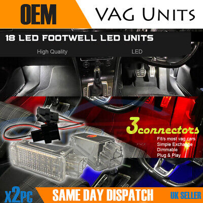 2x NEW Footwell lights 18 LED SMD white red blue VW AUDI SKODA Seat units canbus