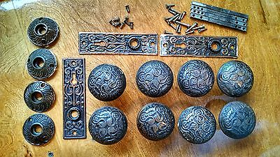 Lot of Antique Cast Iron Door Knob Set Back Plates Victorian Hardware 4 Sets