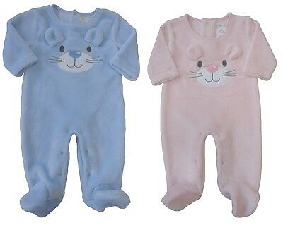 Baby Boy Girl clothes Fleece Sleep suit All in One Blue pink new 0-9 months